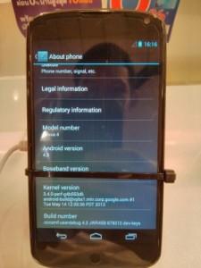 Android Jelly Bean 4.3 Nexus 4