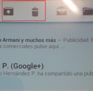 Botón eliminar y archivar gmail
