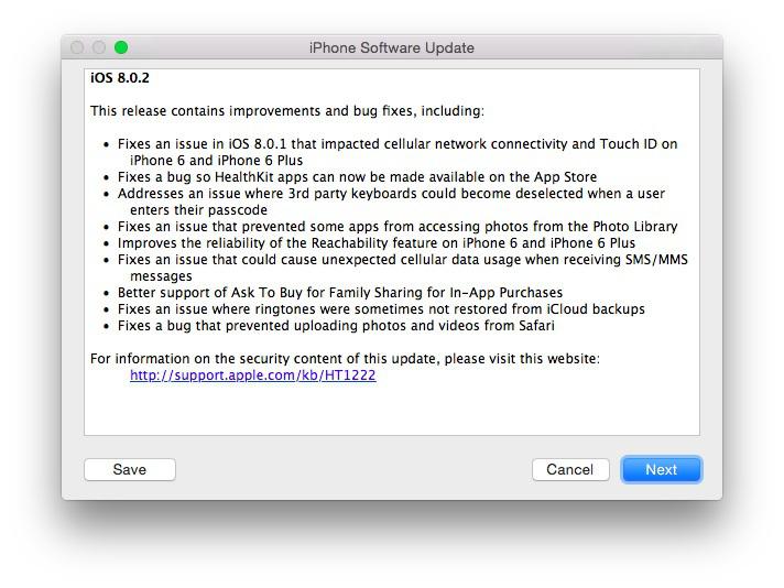 actualización iOS 8.0.2